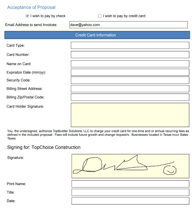 TopBuilder e-signature
