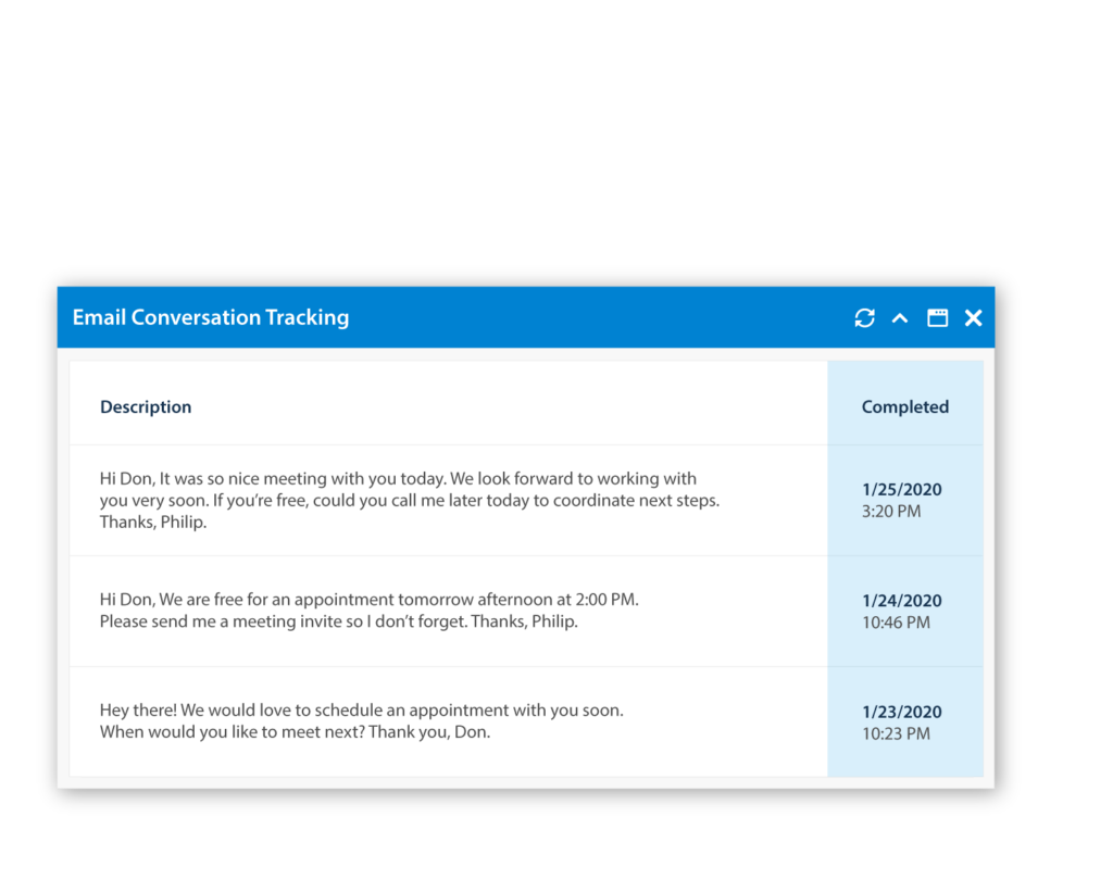 Email Integration Conversation Tracking