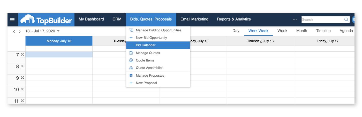 How to find the bid calendar