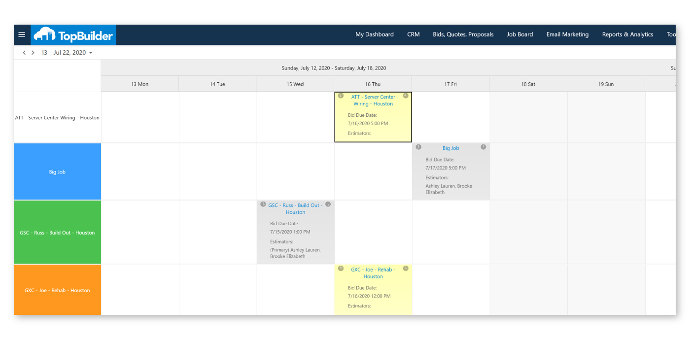 New Bid Calendar from TopBuilder