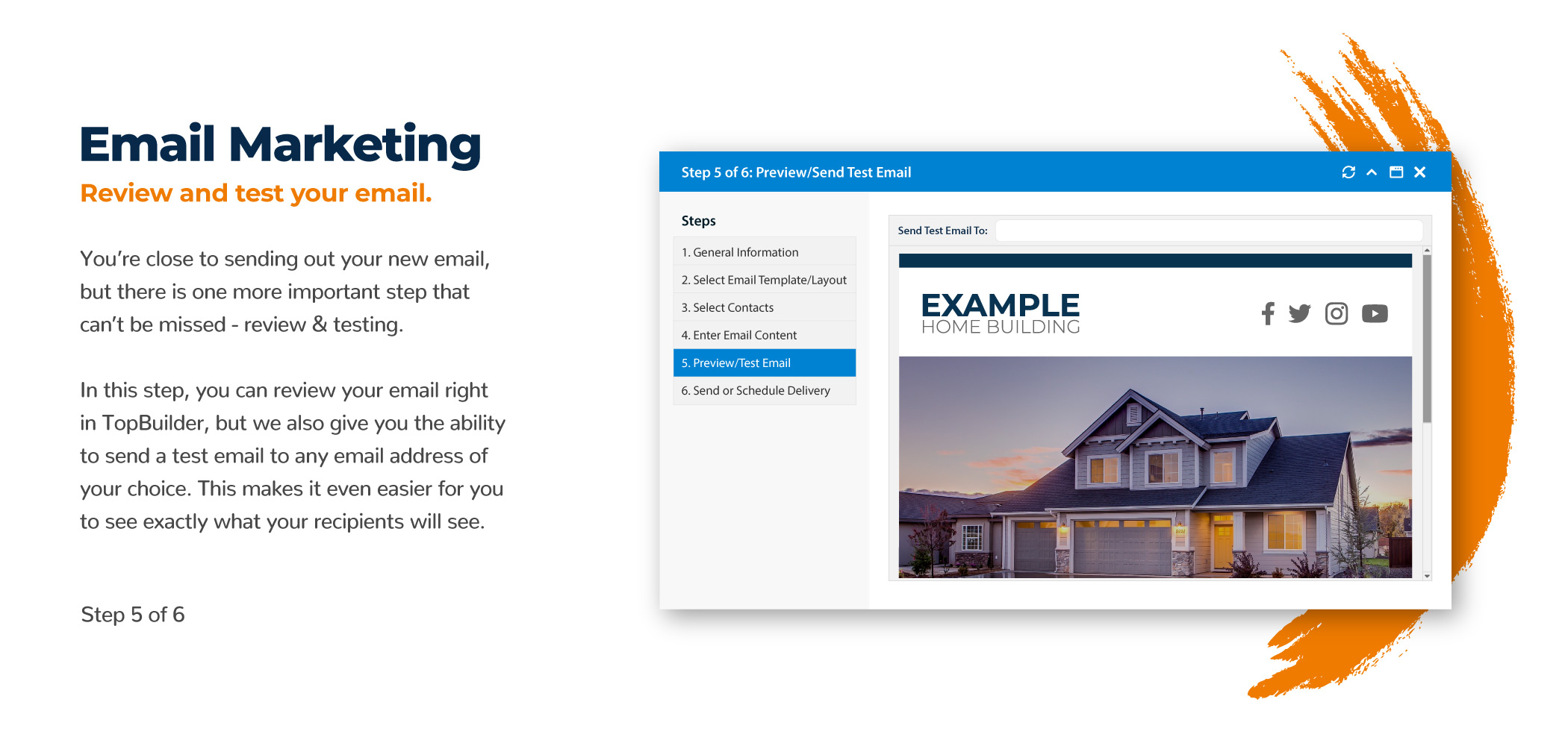 Home Builder Email Marketing Preview and Test