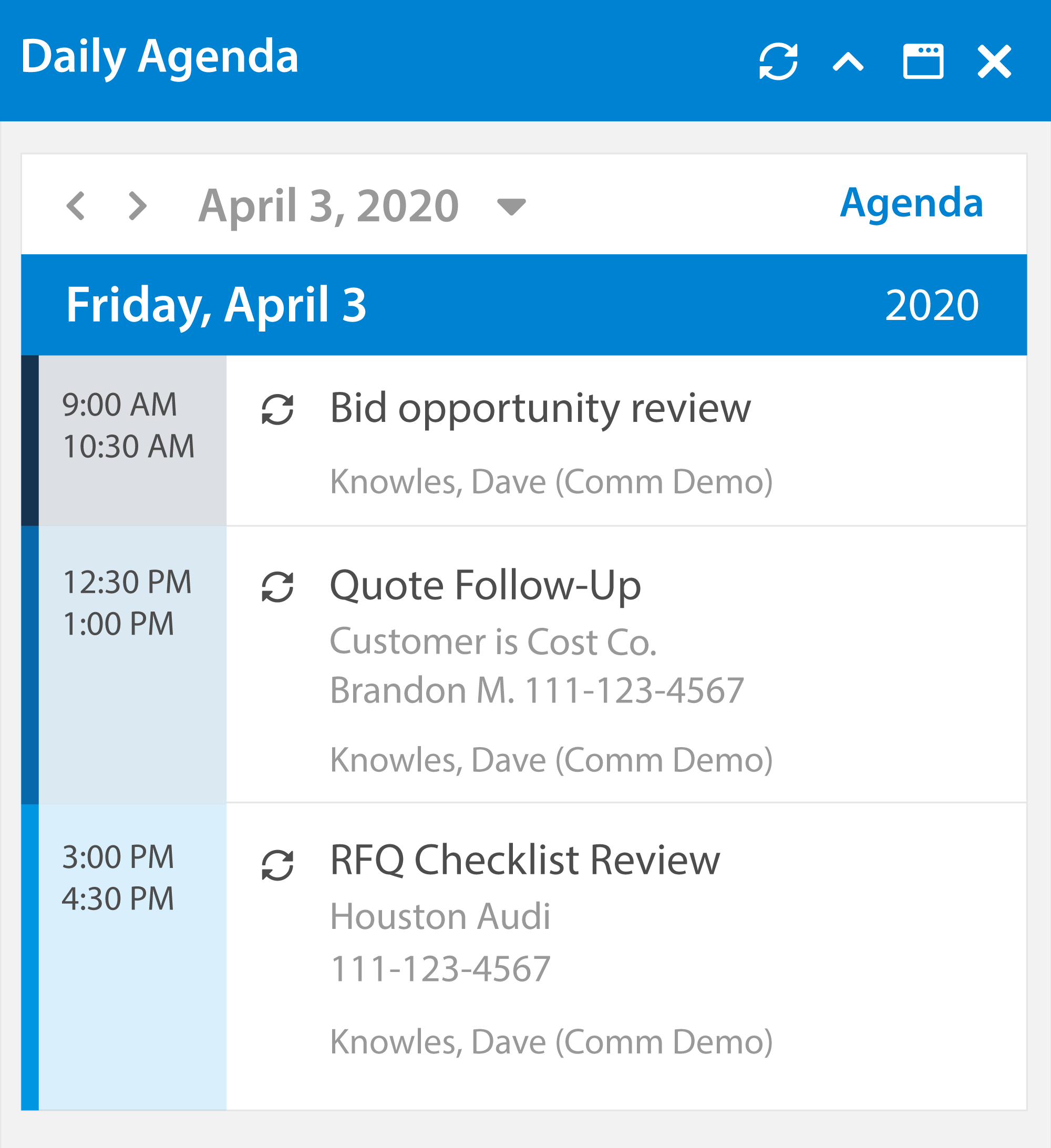 Content Management Daily Agenda Example