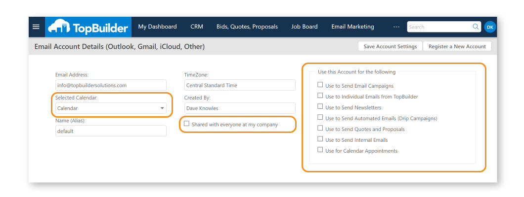 Step 2 - Select Account Preferences